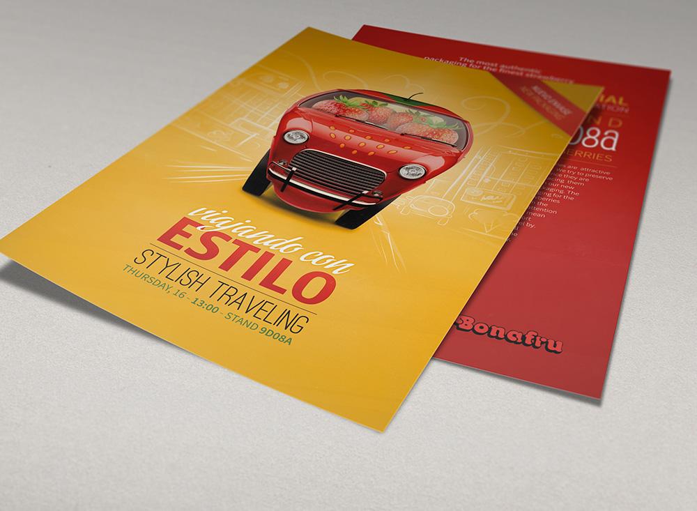 Diseño de flyer fotomontaje para la campaña de presentación de Fresapack. Agromartín, Lujoví y Bonafru