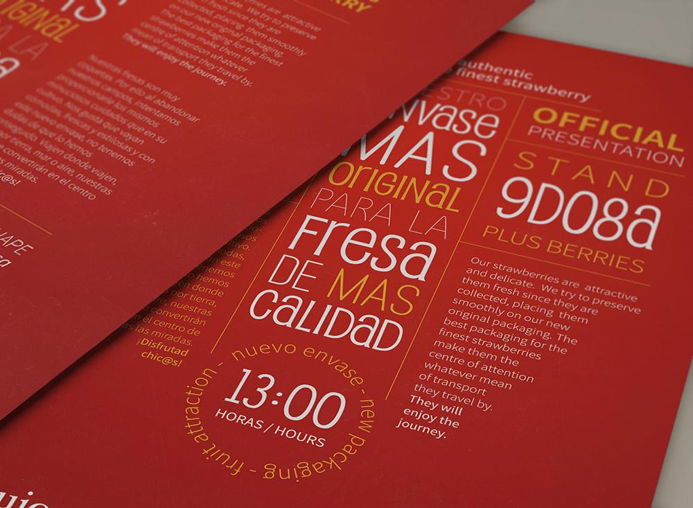 Diseño de dos folletos para la campaña de presentación de Fresapack. Diseño en Huelva